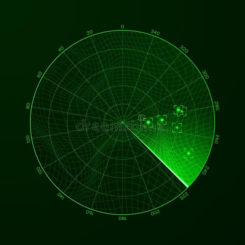 радиолокатор _ Обнаружение объектов на радиолокаторе также вектор иллюстрации притяжки corel бесплатная иллюстрация