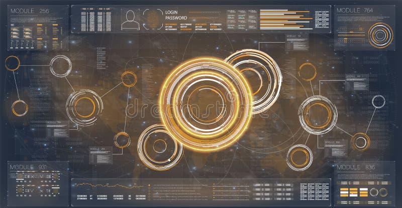 Радиолокатор Hud Установите для дизайна знамени Шаблон Hud футуристический Экран радара цифров сеть вектора различной навигации и иллюстрация вектора