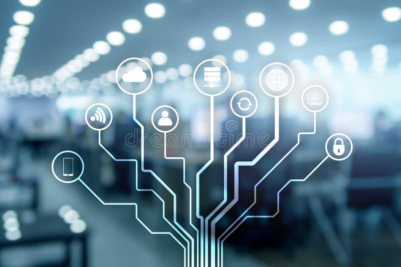 Радиосвязь и концепция IOT на запачканной предпосылке делового центра стоковое фото rf