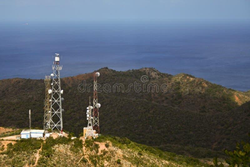 радио горы антенны стоковые фотографии rf