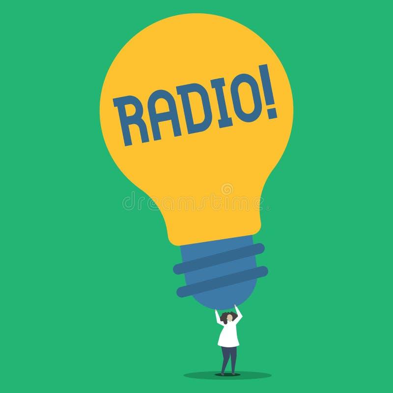 Радио текста почерка Концепция знача радиотехническую аппаратуру используемую для слушать программы передач показывает человека иллюстрация штока
