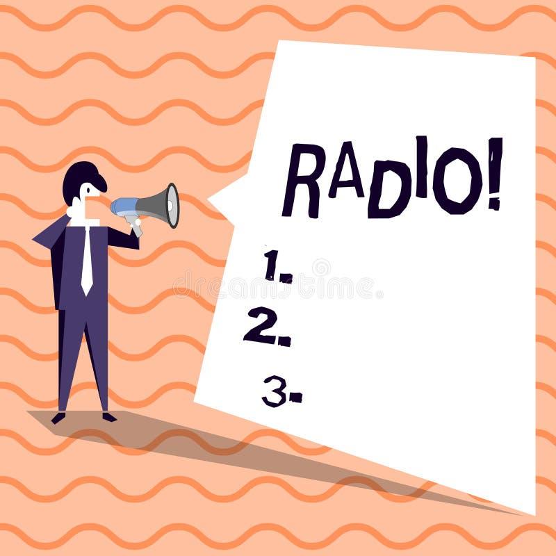 Радио текста сочинительства слова Концепция дела для радиотехнической аппаратуры используемой для слушать шоу программ передач иллюстрация вектора
