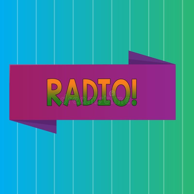 Радио текста сочинительства слова Концепция дела для радиотехнической аппаратуры используемой для слушать программы передач показ иллюстрация вектора