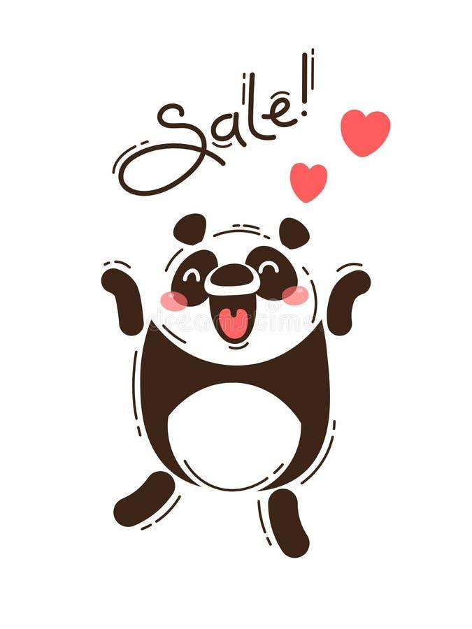 Радостная панда сообщает продажу Иллюстрация вектора в стиле шаржа иллюстрация штока