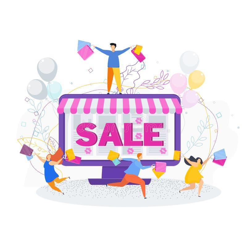 Радостные клиенты на продаже в онлайн магазине иллюстрация штока