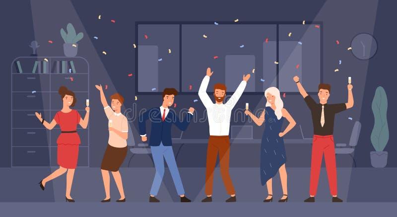 Радостные менеджеры или коллеги празднуя праздник совместно Счастливые люди и женщины имея потеху и выпивая шампанское на иллюстрация штока