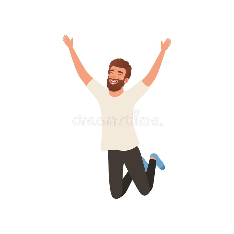 Радостный бородатый человек в скача действии с руками вверх Персонаж из мультфильма молодого парня с счастливым выражением сторон иллюстрация вектора