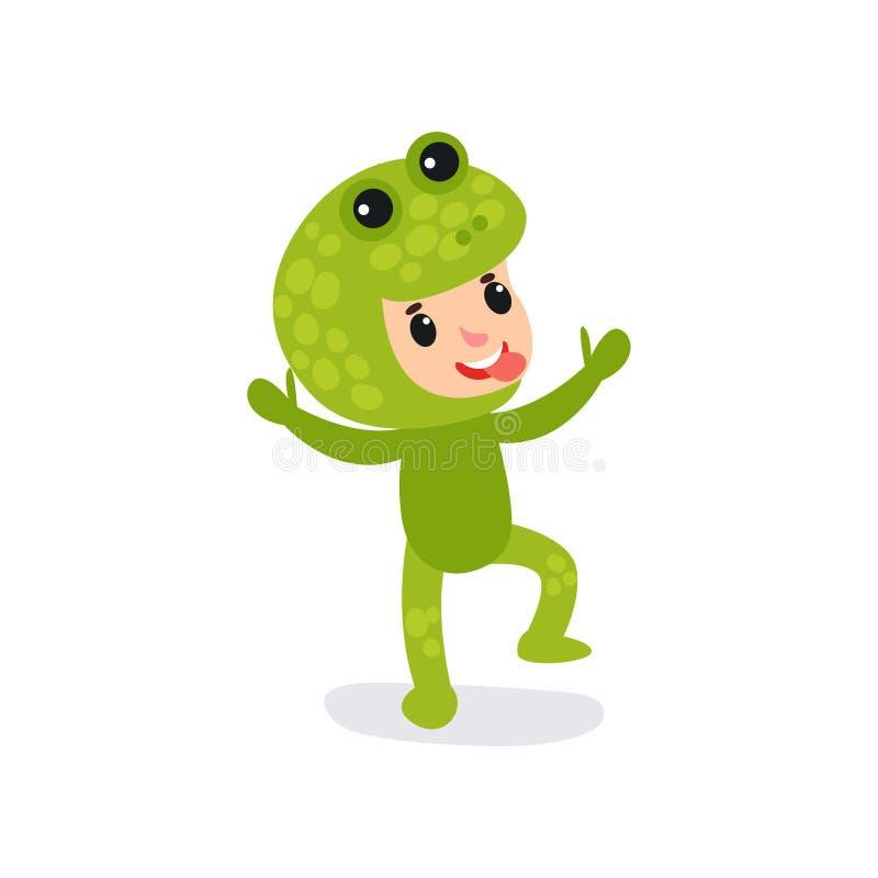 Радостный маленький ребенок имея потеху в комбинезоне зеленой лягушки Показ выражения стороны ребенка шаржа жизнерадостный показы бесплатная иллюстрация