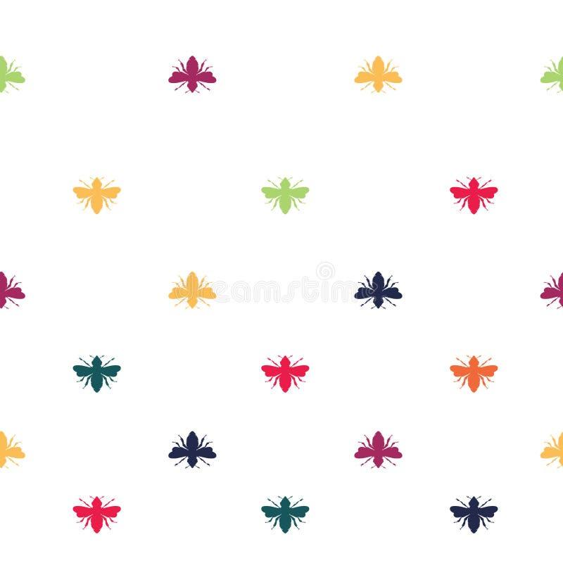 Радуга вектора покрасила формы пчел на белой безшовной предпосылке картины иллюстрация вектора