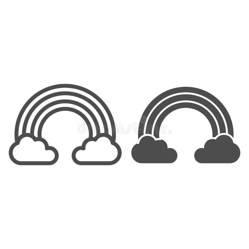 Радуга в облаках выравнивается и значке глифа Иллюстрация вектора неба изолированная на белизне Конструированный дизайн стиля пла иллюстрация штока
