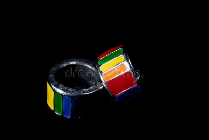 Радуга гордости на черной предпосылке стоковое изображение rf