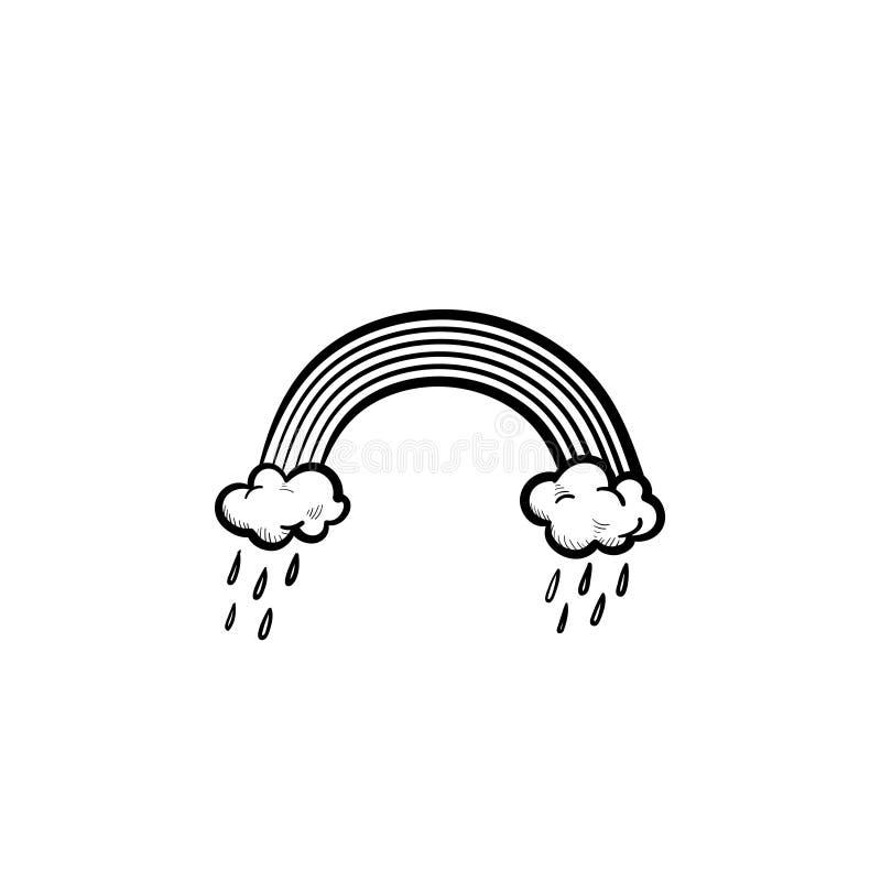 Радуга и идя дождь облака вручают вычерченный значок эскиза иллюстрация вектора