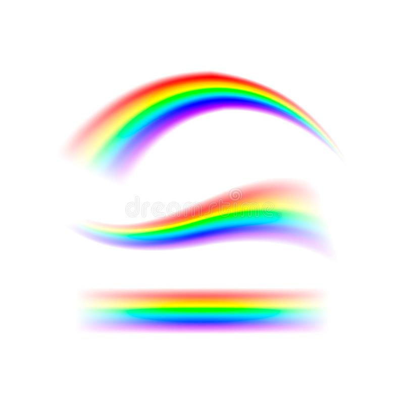 Радуга конспекта установленная в различных формах Спектр света, 7 цветов Иллюстрация вектора изолированная на прозрачной предпосы бесплатная иллюстрация