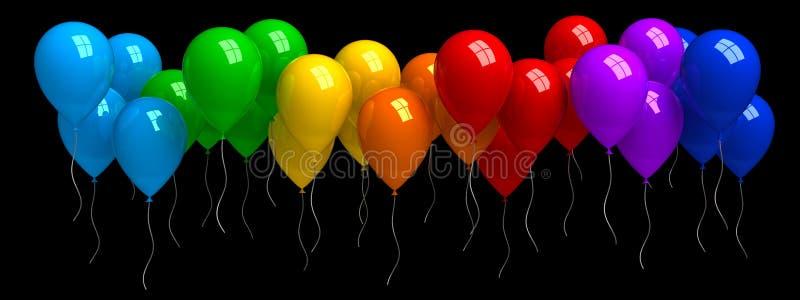 Радуга красочных воздушных шаров, изолированных от черного иллюстрация вектора
