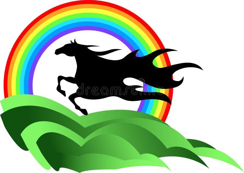 радуга лошади иллюстрация вектора