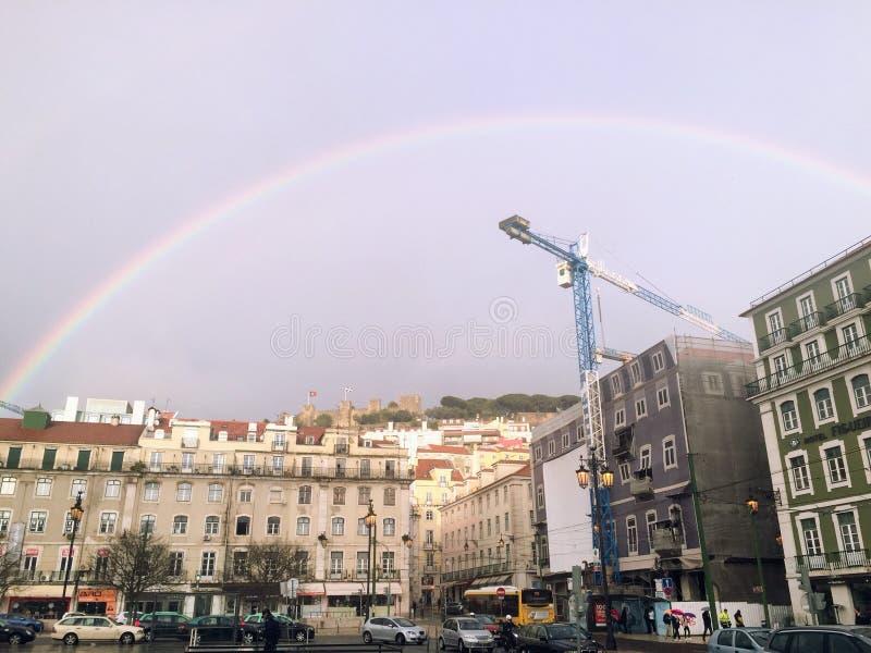 Радуга на Лиссабоне стоковое изображение rf