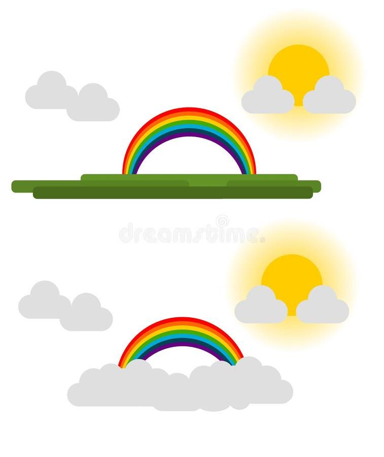 Радуга облака травы вектора иллюстрация штока