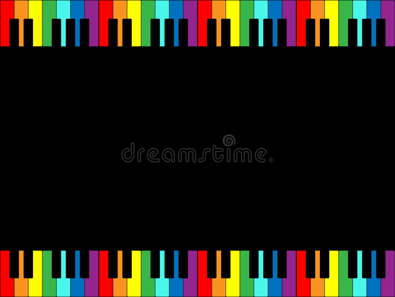 радуга рояля клавиатуры граници иллюстрация вектора
