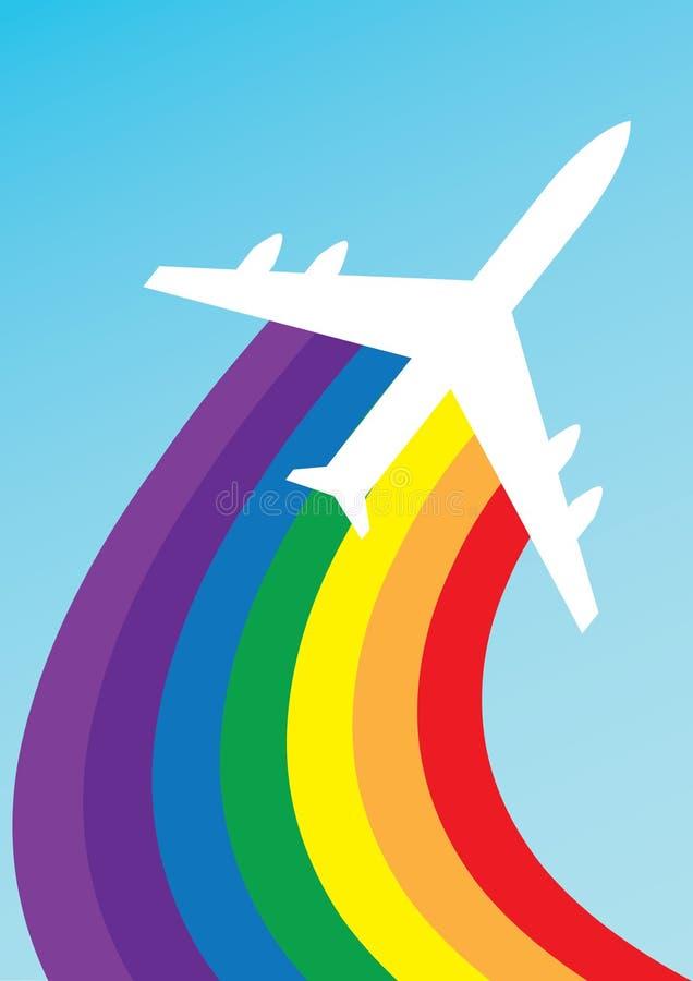 радуга самолета иллюстрация штока
