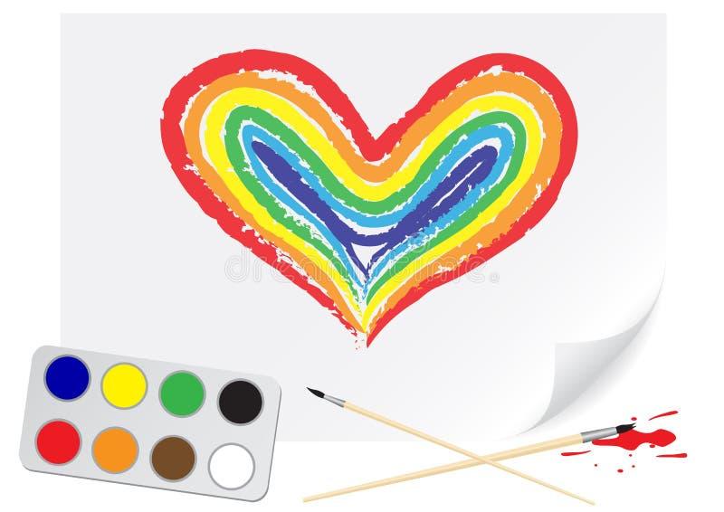 радуга сердца чертежа иллюстрация штока