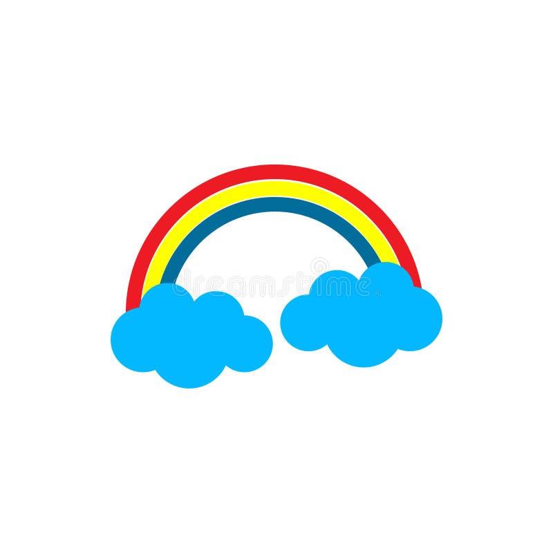 Радуга с облаками выдерживает значок Плоская иллюстрация вектора бесплатная иллюстрация