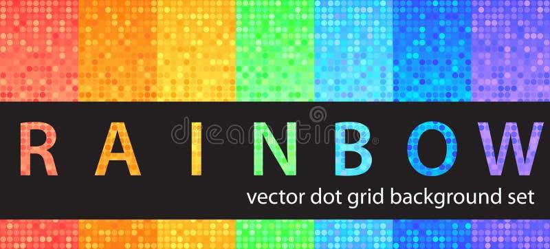 Радуга точечного растра польки установленная Backgro вектора безшовное геометрическое иллюстрация вектора