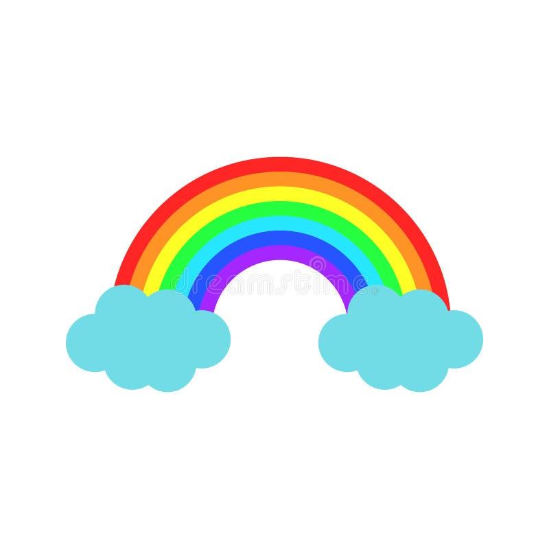Радуга цвета вектора с облаками Значок шаржа плоский иллюстрация вектора