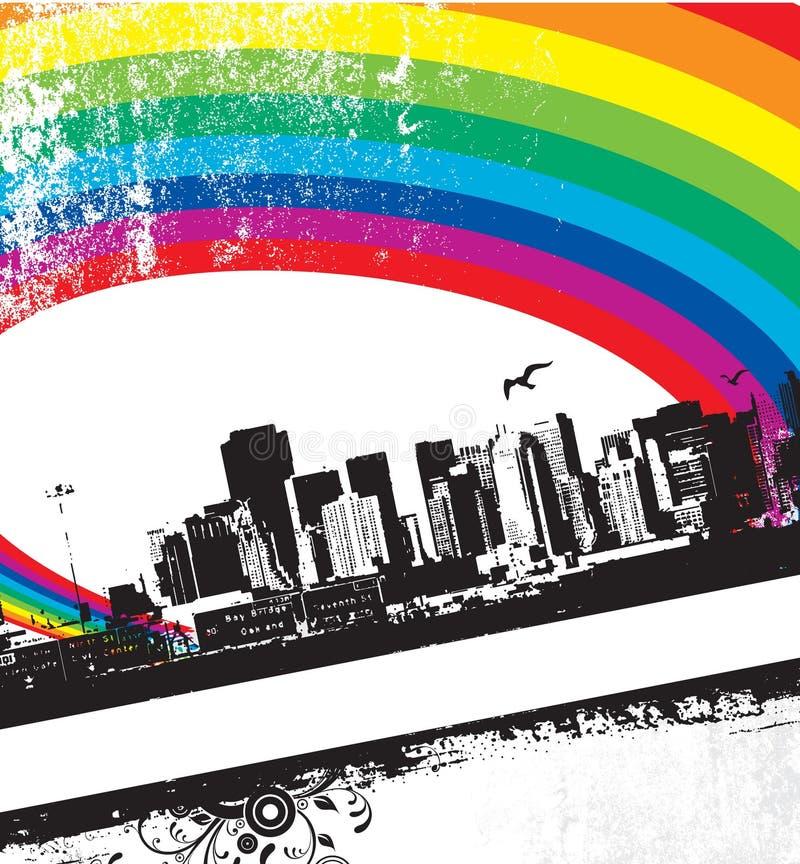 радуга grunge города бесплатная иллюстрация