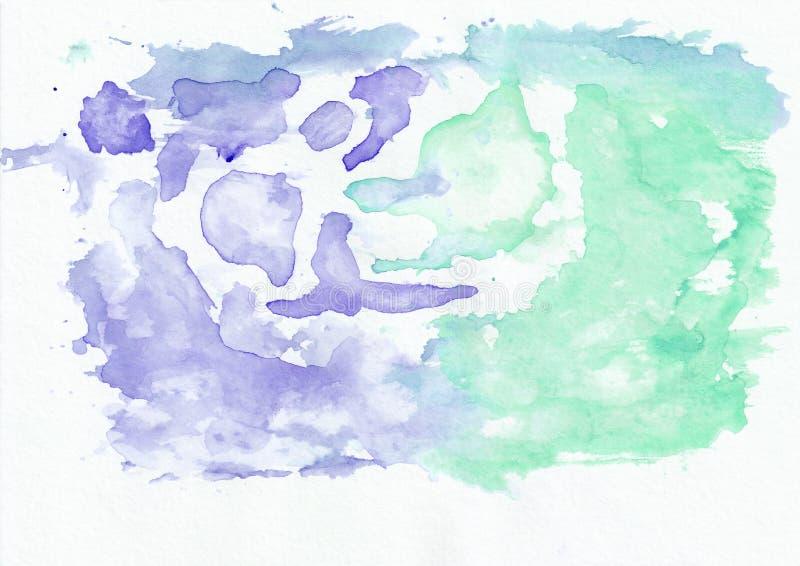 Радужка индиго и нефрит мяты смешали предпосылку горизонтального градиента акварели Оно ` s полезное для поздравительных открыток иллюстрация вектора