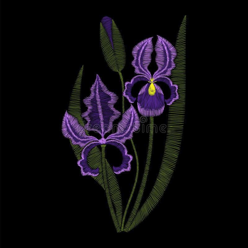 Радужка цветет вышивка, иллюстрация моды вектора бесплатная иллюстрация
