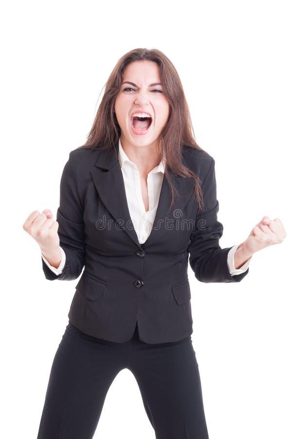 Раж сердитой сумашедшей бизнес-леди выкрикивая и крича шальной показывая стоковое изображение rf