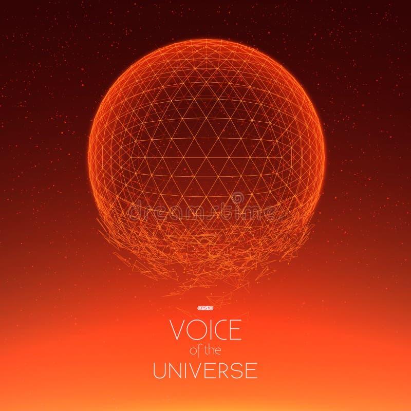 Разбивая красная сфера космоса Абстрактная предпосылка вектора с крошечными звездами Зарево солнца от дна бесплатная иллюстрация