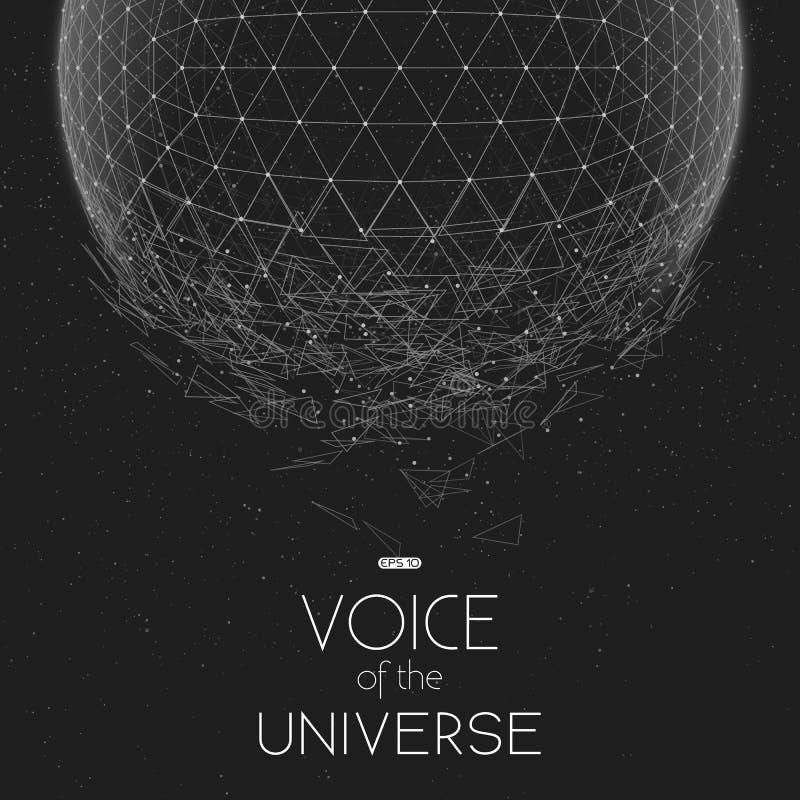 Разбивая сфера космоса серой шкалы Абстрактная предпосылка вектора с крошечными звездами Зарево солнца от дна иллюстрация вектора