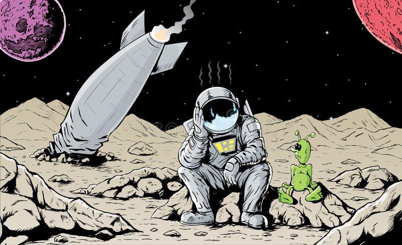 разбили астронавт, котор иллюстрация вектора