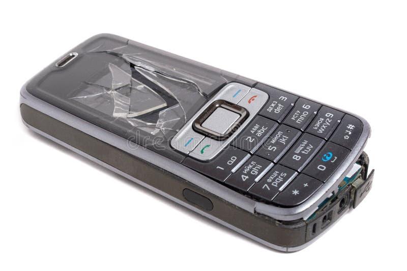 разбили мобильный телефон стоковая фотография