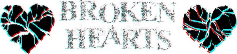 Разбитые сердца Разрушенные сердца и иллюстрация писем бесплатная иллюстрация