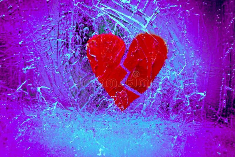 Разбитый сердце в треснутом льде стоковое изображение rf