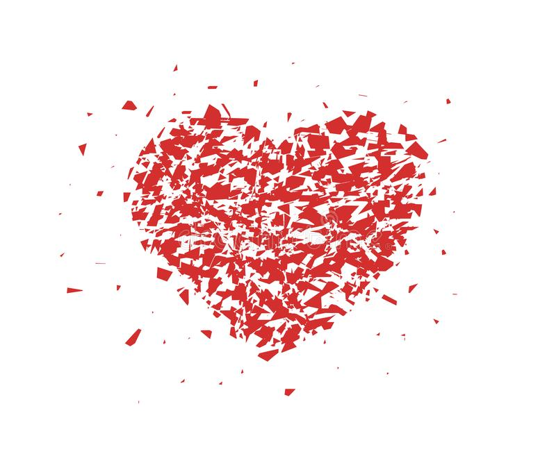 Разбитый сердце, небольшие части, частицы Абстрактная иллюстрация вектора изолированная на светлой предпосылке бесплатная иллюстрация