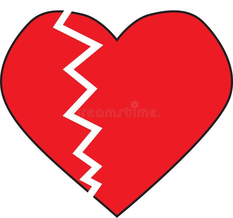 Разбитый сердце с белой треснутой меткой иллюстрация вектора
