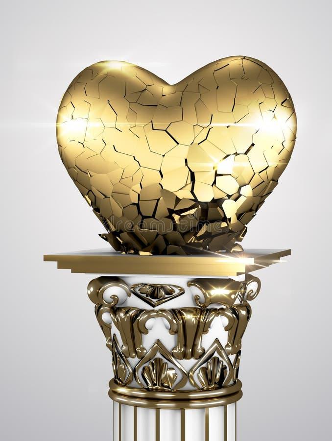 Разбитый сердце золотое стоковая фотография rf