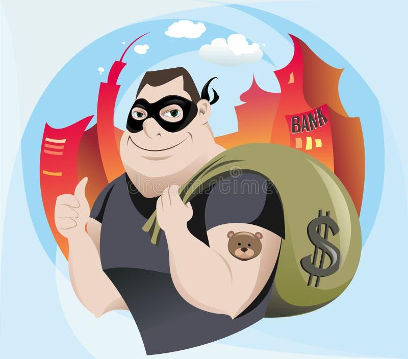 Разбойник банка иллюстрация штока