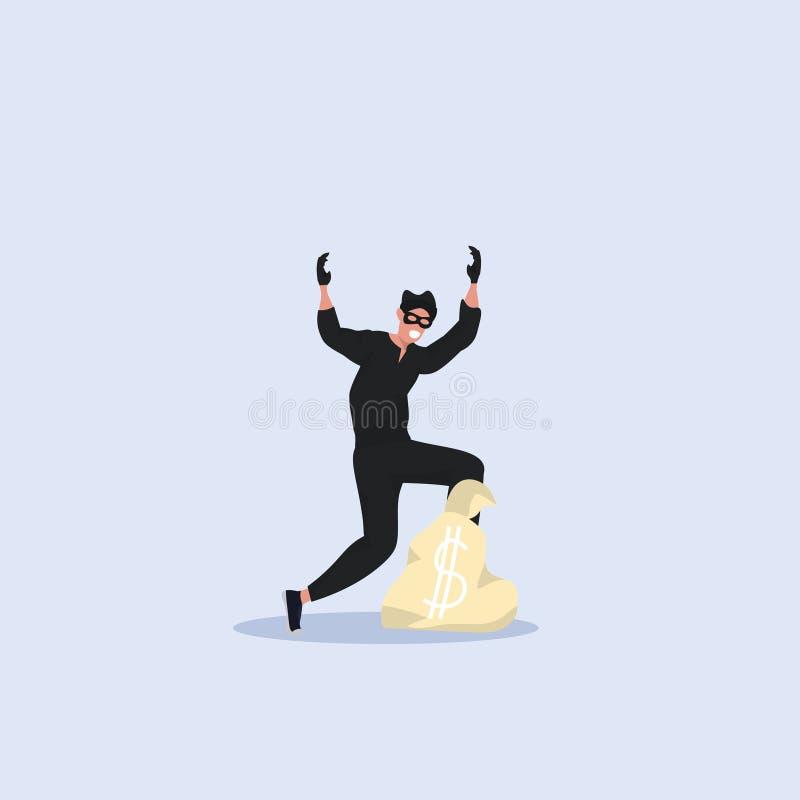 Разбойник в черных одеждах и положение маски с поднятыми руками около задержания сумки денег уголовной концепции плоско полного иллюстрация штока