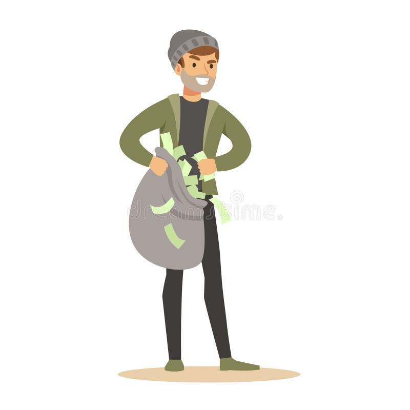 Разбойник нося мешок денег Красочная иллюстрация вектора персонажа из мультфильма бесплатная иллюстрация