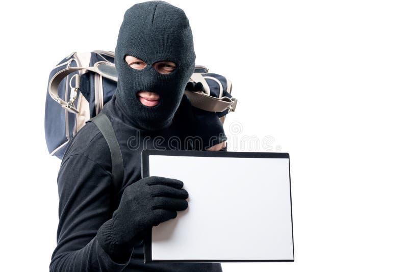 Разбойник с большой сумкой показывает форму для надписи стоковые изображения rf