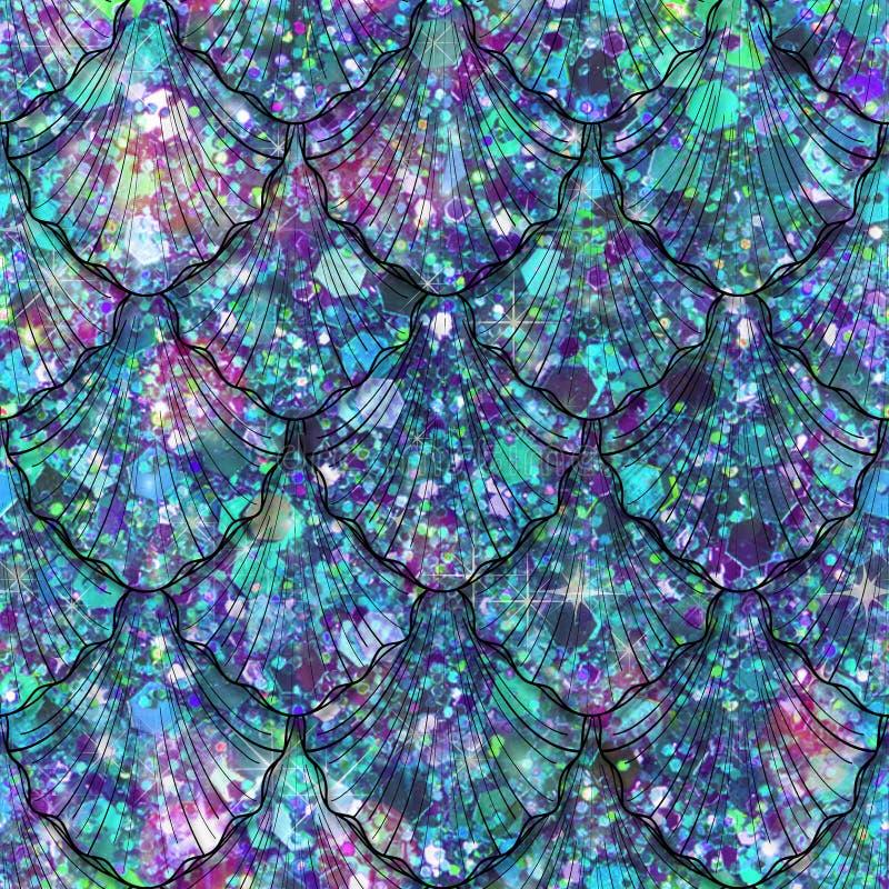 Разбросанная печать самоцвета и Sequin с масштабами русалки стоковое фото rf