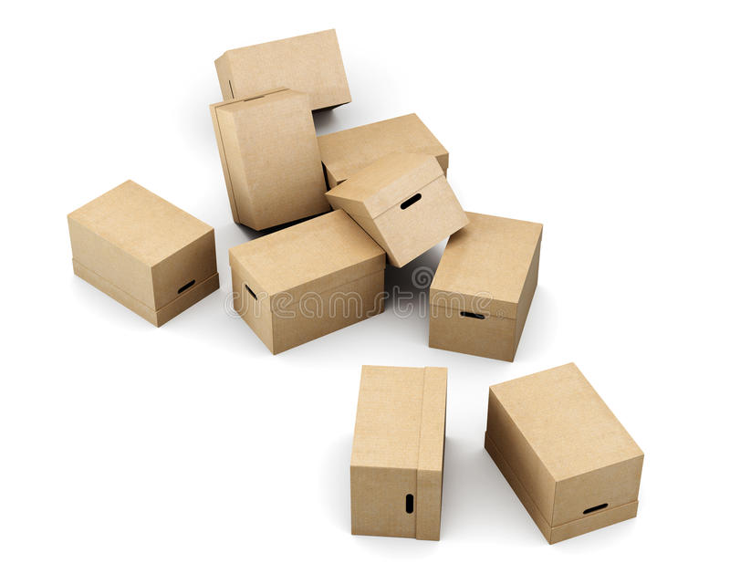 Разбросанные картонные коробки на белой предпосылке перевод 3d иллюстрация вектора