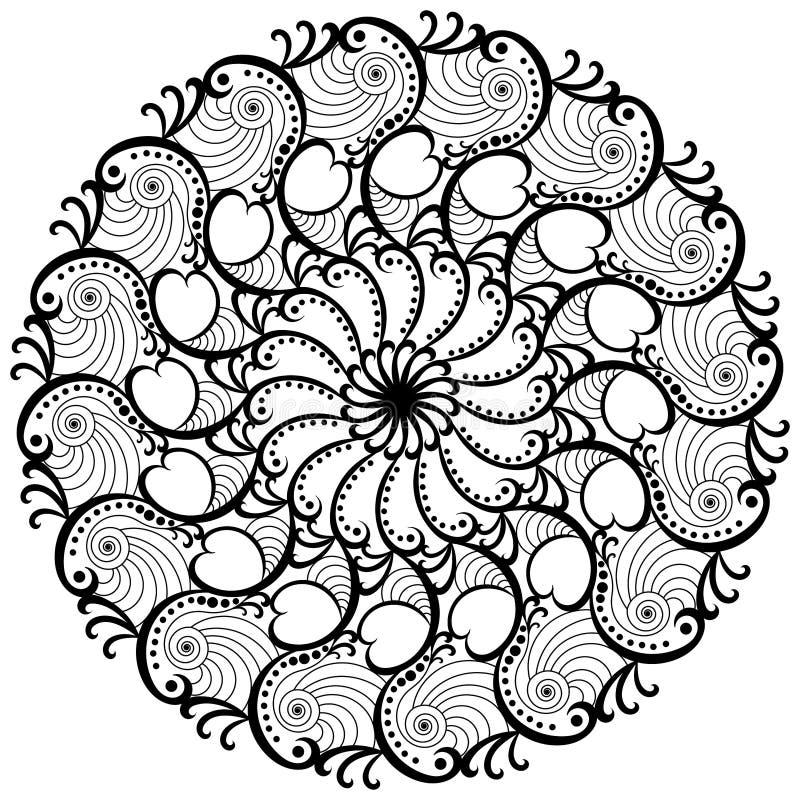 Развевает страница расцветки мандалы круглая иллюстрация штока