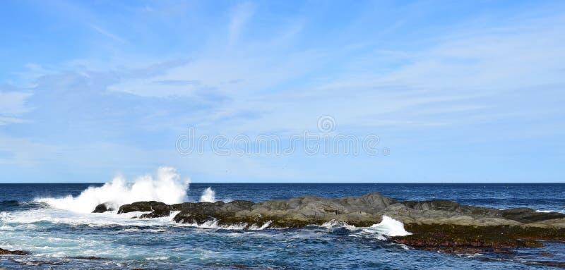 развевайте ударяющ утес в океане делая большой выплеск стоковая фотография rf