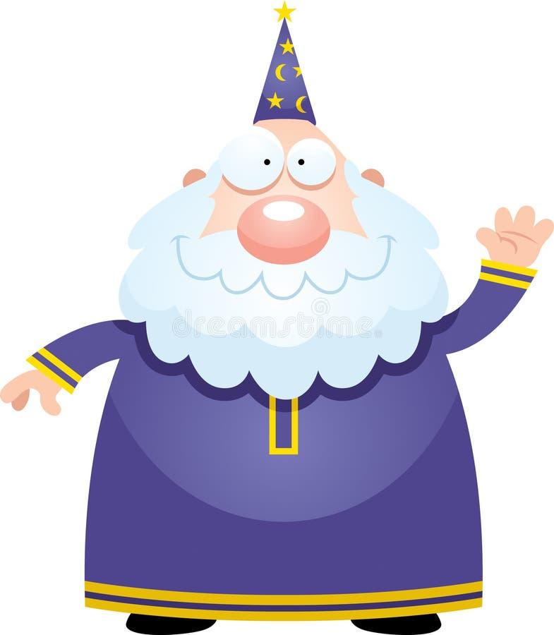 Развевать волшебника шаржа иллюстрация вектора