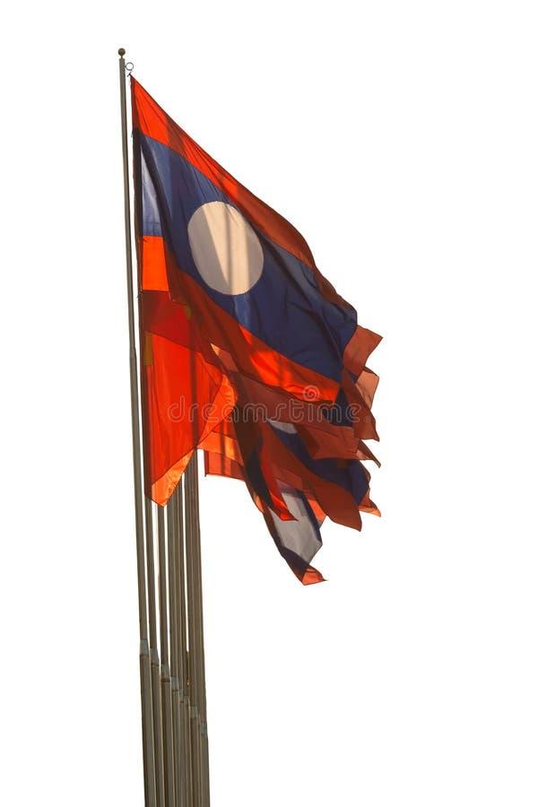 Развевать флага Лаоса изолированный на белой предпосылке стоковые изображения